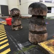 balisage par les champignons en bois