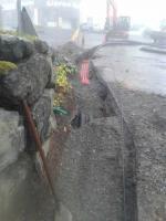 avec pluie et brouillard : les travaux continuent